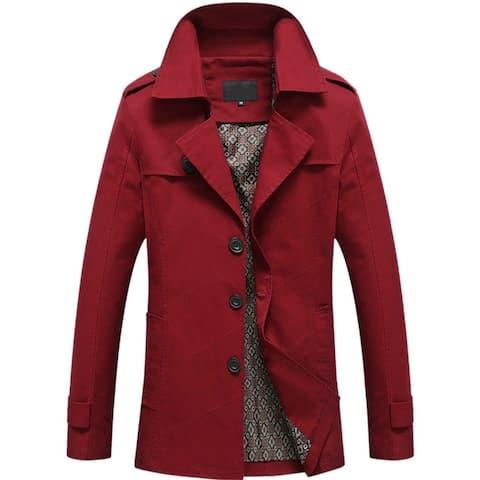 Men Casual Jacket Long Trench Coat Cotton Washed Jacket
