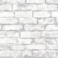 Brewster 2604-21261 Brickwork Light Grey Exposed Brick Texture Wallpaper