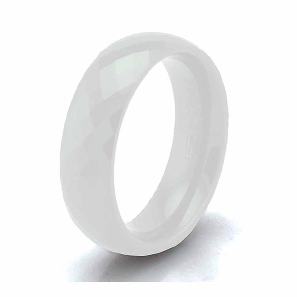White Ceramic 6mm Multi Faceted Stackable Ring