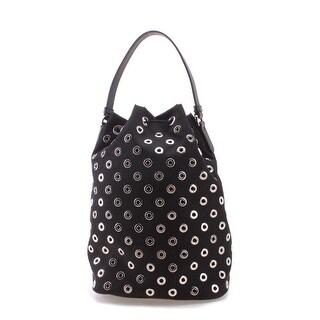 Prada Perforated Pattern Tessuto Fabric Shoulder Handbag - Black - M