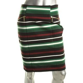 MICHAEL Michael Kors Womens Striped Double Zipper Pencil Skirt