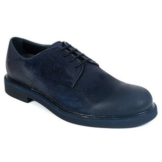 Tods Mens Navy Suede Lace Up Derby Shoes