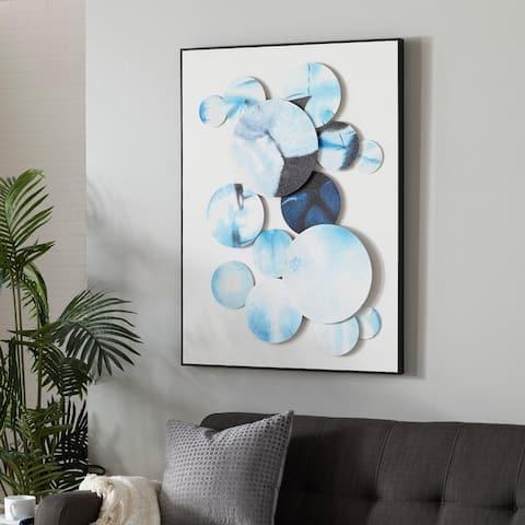 Blue Cotton Contemporary Framed Wall Art 40 x 30 x 3 - 30 x 3 x 40