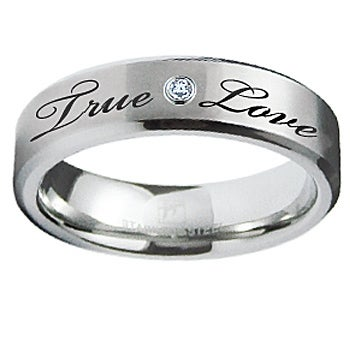 Stainless Steel Engrave Ring w/ CZ