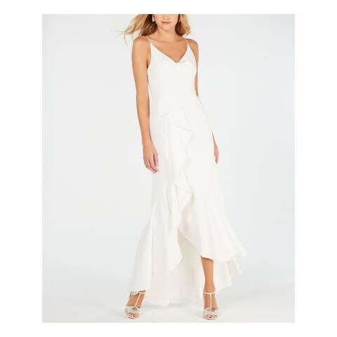 ADRIANNA PAPELL Ivory Spaghetti Strap Tea-Length Dress 14