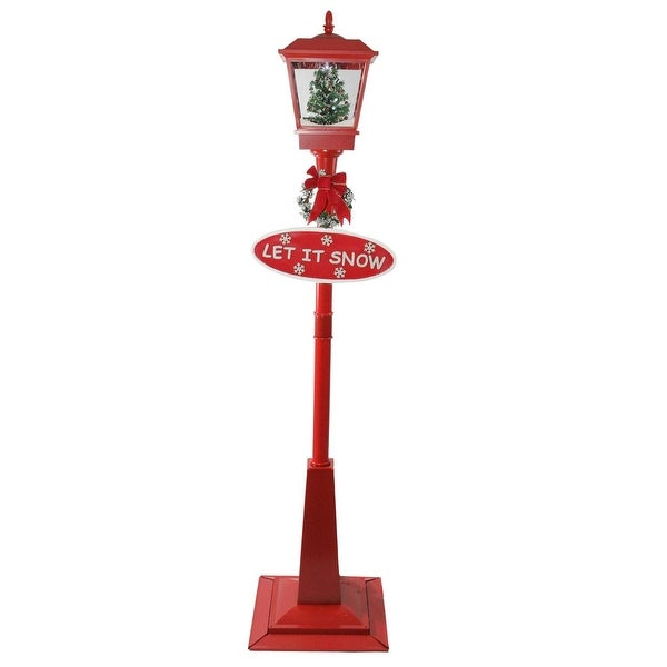 "70.75"" Musical Red Holiday Street Lamp with Christmas Tree Snowfall Lantern"
