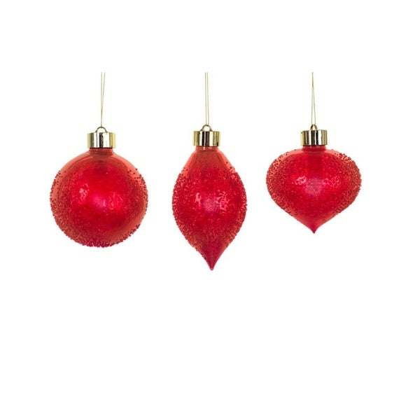 Pack of 6 Unique LED Red Textured Christmas Glass Ornament with Remote 5.25""