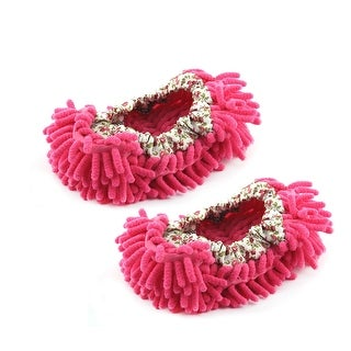 Pair House Floor Polishing Dusting Cleaning Foot Sock Shoes Mop Slippers Fuchsia