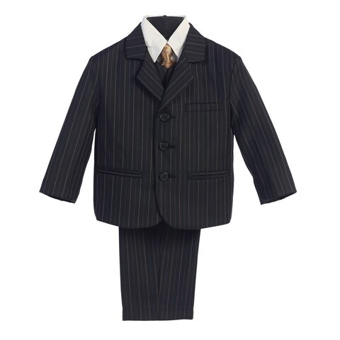 Baby Boys Black Gold Pin Stripe 5 Pcs Special Occasion Suit 6-24M