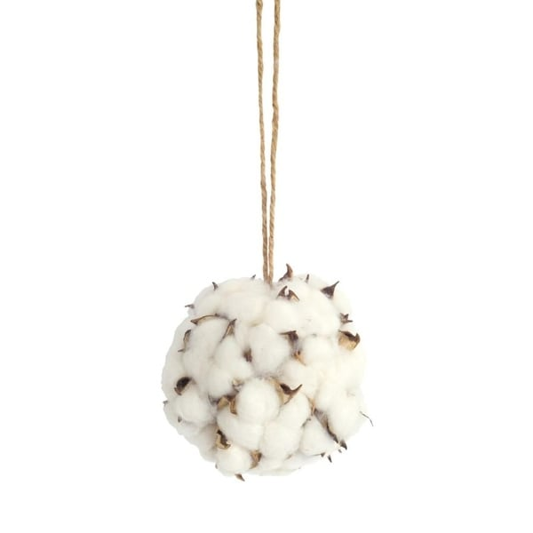 "Pack of 12 Fascinating and Unique White and Brown Cotton Orb Ornaments 4.5""D"