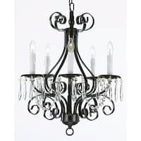 Wrought Iron and Crystal 5 Light Black Chandelier Pendant