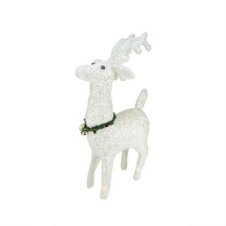 """28.5"""" Lighted White Plush Glittered Reindeer Christmas Outdoor Decoration"""