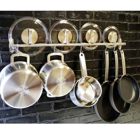 Wallniture Lyon Steel 31.5'' Pot Rack with 10 Hooks, Utensil Holder, Silver