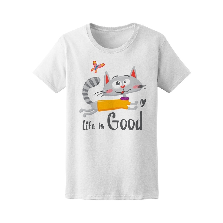 Life Is Good Cat Doodle Tee Womens -Image by Shutterstock