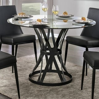 Furniture of America Fola Contemporary Black 48-inch Metal Dining Table
