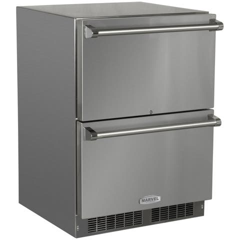 """Marvel MO24RD3N 24"""" Wide 5.7 Cu. Ft. 108-Can Built-In Outdoor Approved Refrigerated Drawers with LED Lighting"""