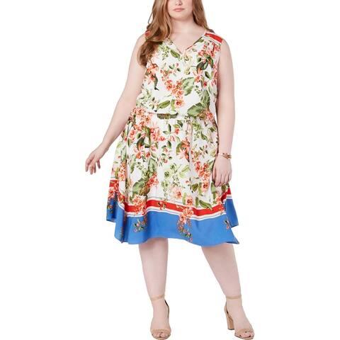 Tommy Hilfiger Womens Plus Midi Dress Sleeveless V-Neck - Ivory Multi