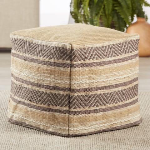 """Donovan Indoor/ Outdoor Striped Beige/ Gray Cube Pouf - 16""""X16""""X16"""""""