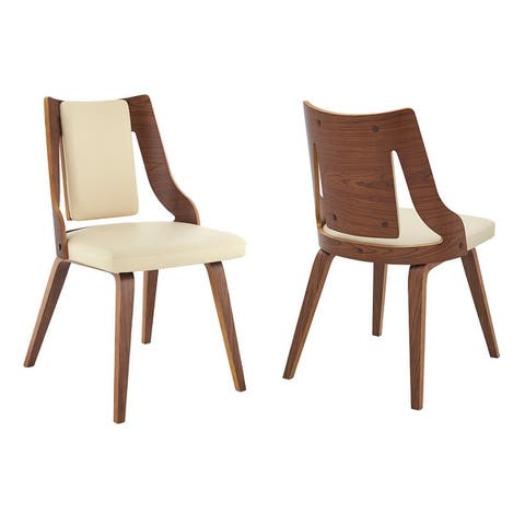 Aniston Faux Leather and Wood Dining Chairs - Set of 2