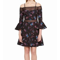 40f30ba7f85 Shop Alice   Olivia Tanner Floral Print Layered Ruffle Fit   Flare ...