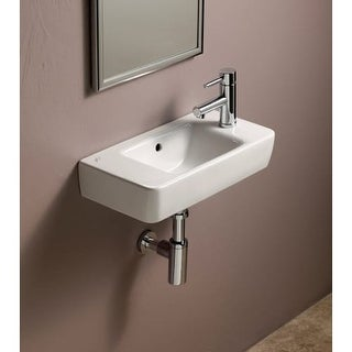 """Bissonnet 276150 Elements Comprimo 19-7/10"""" Wall Mounted Center Drain Bathroom Sink with 1 Hole Drilled and Overflow"""