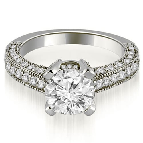 1.20 cttw. 14K White Gold Antique Milgrain Round Cut Diamond Engagement Ring