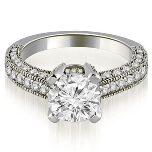 1.45 cttw. 14K White Gold Antique Milgrain Round Cut Diamond Engagement Ring