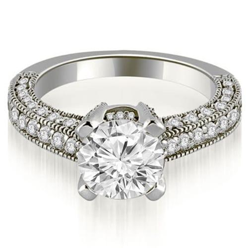 1.70 cttw. 14K White Gold Antique Milgrain Round Cut Diamond Engagement Ring