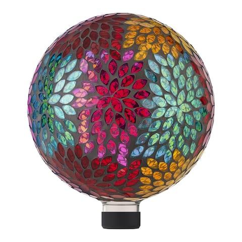 Alpine 10-Inch Indoor/Outdoor Glass Leaf Pattern Gazing Globe, Multicolor