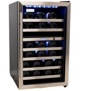 Danby DWC114BLSDD 38 Bottle Dual Zone Wine Cooler - Stainless Steel/Black