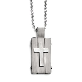 Chisel Stainless Steel Matte and Antiqued Cross Dogtag Necklace - 24 in