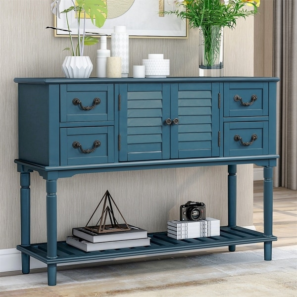 Merax Console Table with 4 Storage Drawers for Entryway Sofa Table with Shutter Doors. Opens flyout.