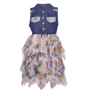 Little Girls Coral Floral Print Cascade Ruffle Shirt Style Casual Dress