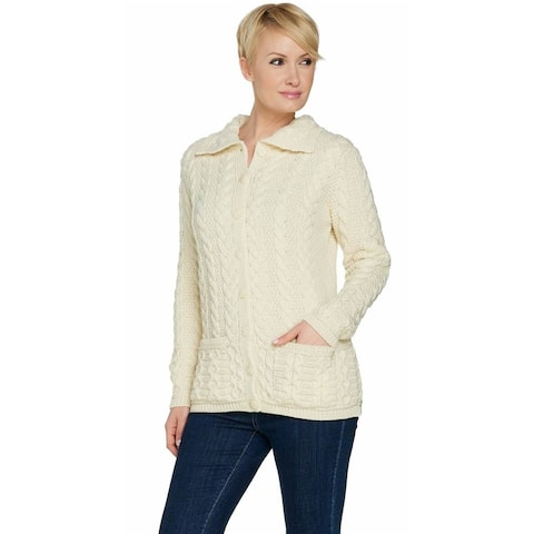 Aran Craft Womens Merino Wool Shawl Collar Cardigan XX-Small Natural A291292