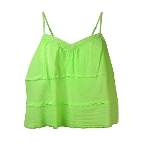 Guess Women's V-Neck Multi-Tiered Tank Top - Native Green - M