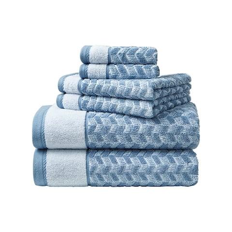 Nautica Zane Chevron Cotton Blue 6 Piece Towel Set - 6 Piece