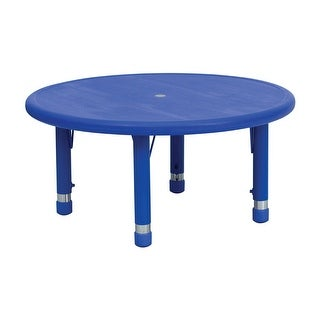 Offex 33'' Round Height Adjustable Blue Plastic Activity Table
