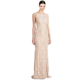 Jovani Rhinestone Embellished Lace Scoop Back Evening Gown Dress