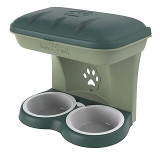 Bama Pet Mountable Food Stand with Storage Compartment, Green, Average Dog Size