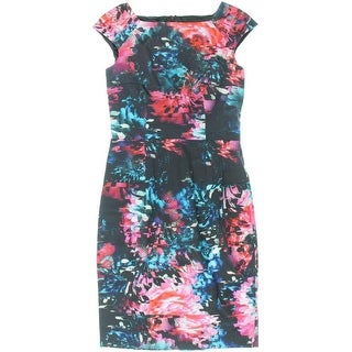French Connection Womens After Party Printed Knee-Length Wear to Work Dress
