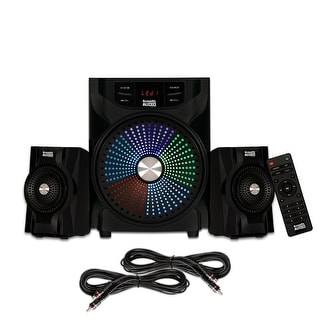 Acoustic Audio AA2104 Bluetooth Home 2.1 Speaker System with LED Display and 2 Ext. Cables