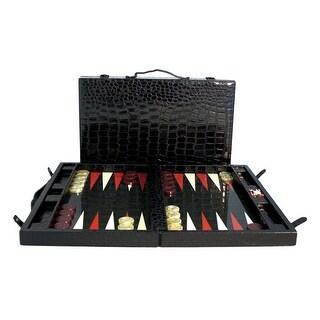 Black Vinyl Croc Backgammon Button Case