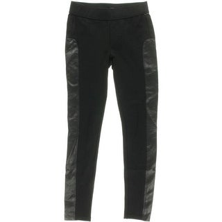 Aqua Womens Quilted Faux Leather Trim Leather Pants - XS