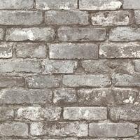 Brewster 2604-21259 Brickwork Pewter Exposed Brick Texture Wallpaper - pewter brick - N/A