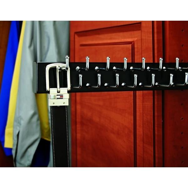 """Rev-A-Shelf CWSBR-20-1 CWSBR Series 20"""" Side Mount Sliding Wood Belt Rack for up to 23 Belts - Natural Wood"""