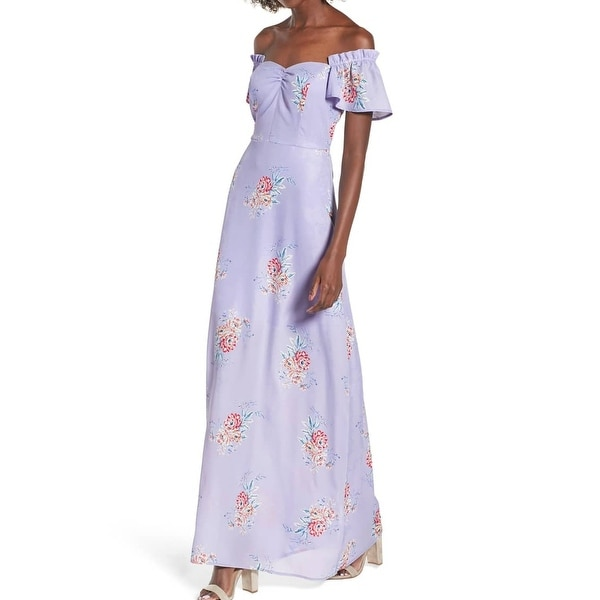 8ac666faa9a4 Shop Socialite Purple Floral Print Off-Shoulder Ruffled XXL Maxi Dress -  Free Shipping On Orders Over  45 - Overstock - 27895150