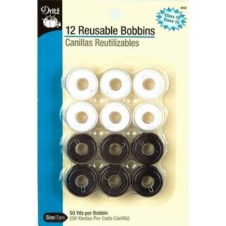 Plastic Class 15 Bobbins-Black & White 12/Pkg