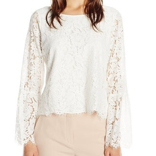 Vince Camuto NEW White Women's Size Large L Floral Lace Solid Blouse