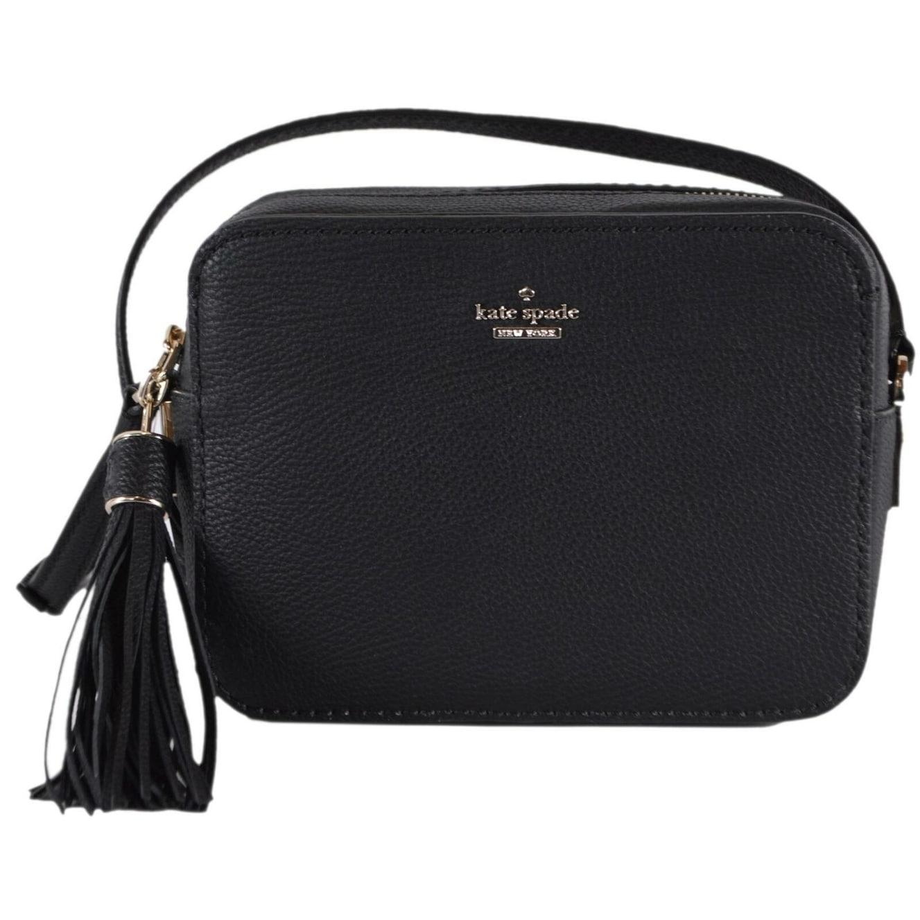 Kate Spade Black Leather Naomi Crossbody Camera Bag Purse