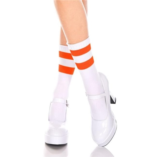 1fe4f23953d4 Shop 526-WHITE-N.ORANGE Acrylic Ankle High with Striped Top Socks ...